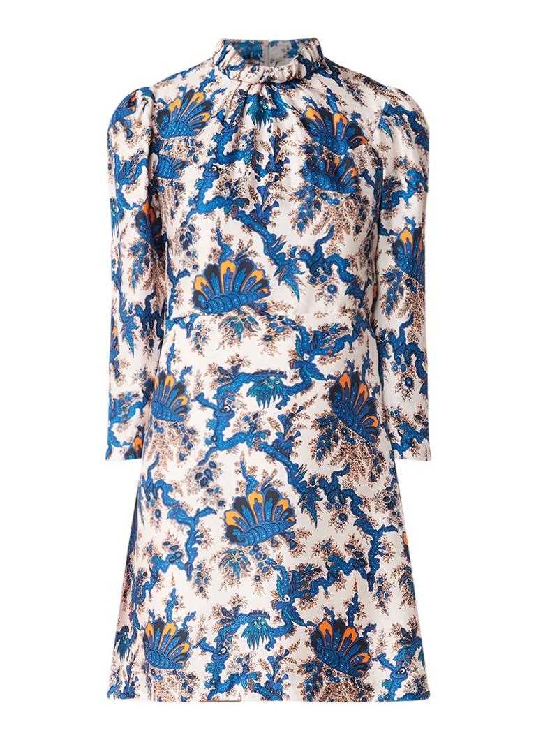 Sandro Midi-jurk van zijde met bloemendessin en lage col blauw