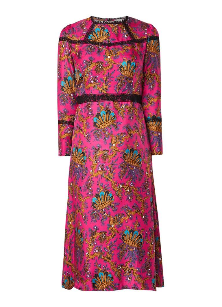 Sandro Midi-jurk van zijde met dessin en details van kant roze