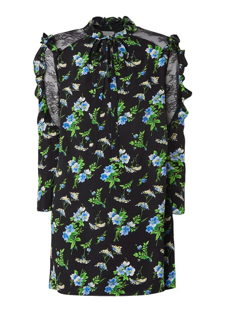 Sandro Loose fit midi-jurk van zijde met kant zwart