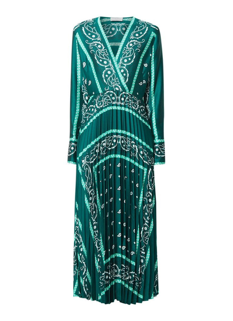 Sandro maxi-jurk met plissé en paisleyprint groen