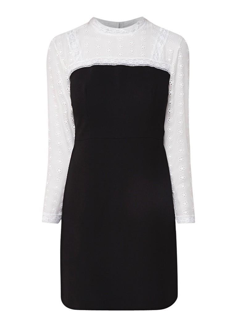 Sandro Mini-jurk met kant en broderie zwart
