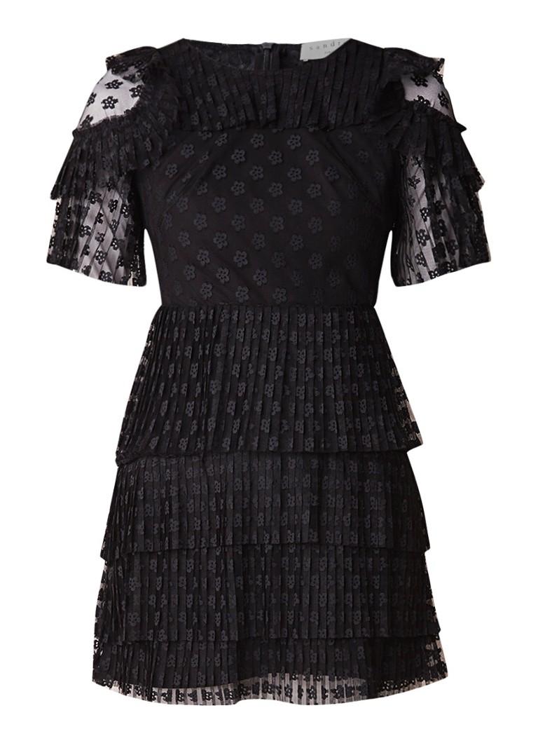 Sandro Mini jurk met geplisseerde mesh met bloemenprint zwart