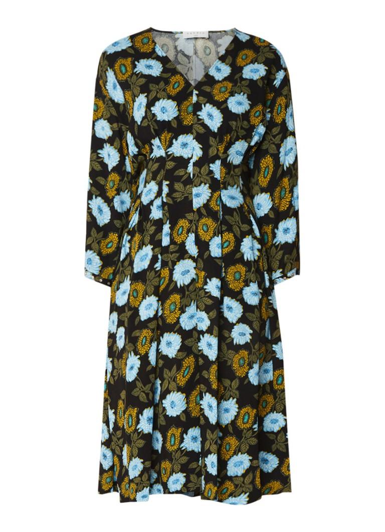 Sandro Midi-jurk met bloemendessin en driekwartmouw multicolor