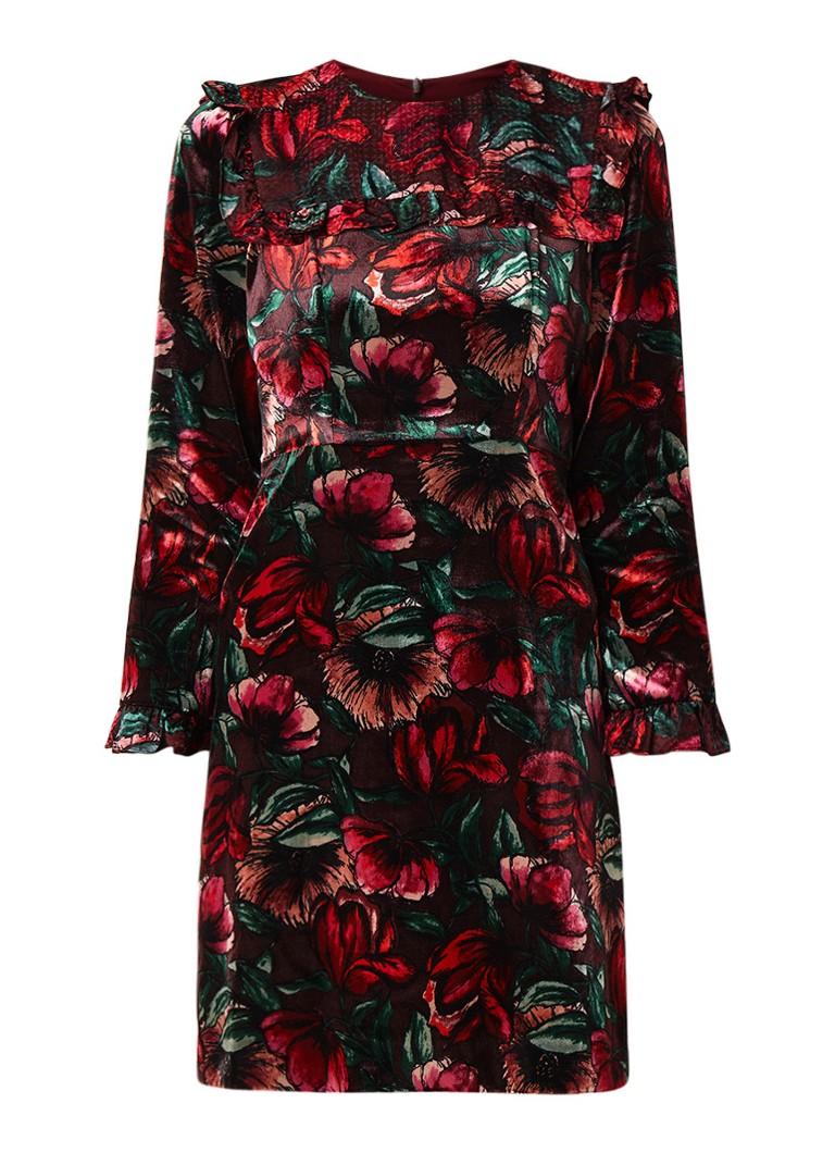 Sandro Midi A-lijn jurk van velours met bloemendessin donkerrood