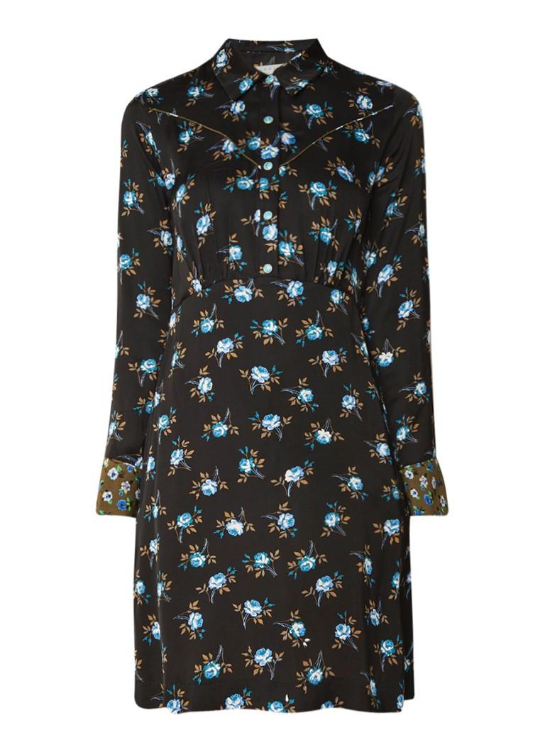 Sandro Mini blousejurk met bloemendessin zwart