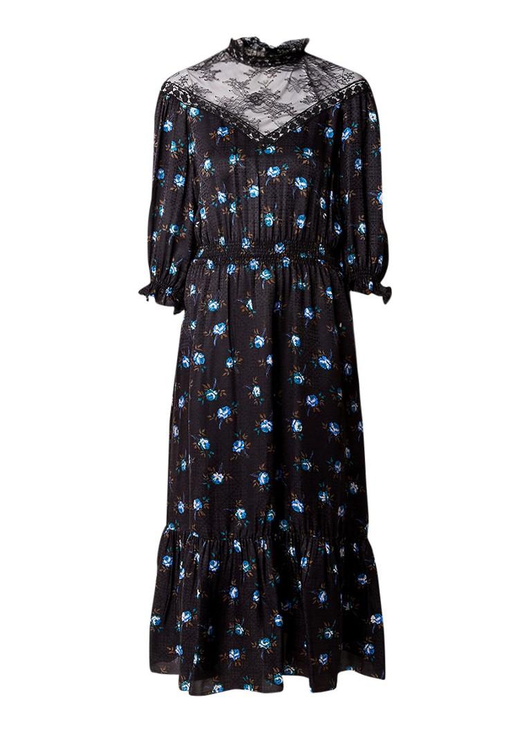 Sandro Midi-jurk in zijdeblend met bloemendessin en inzet van kant zwart