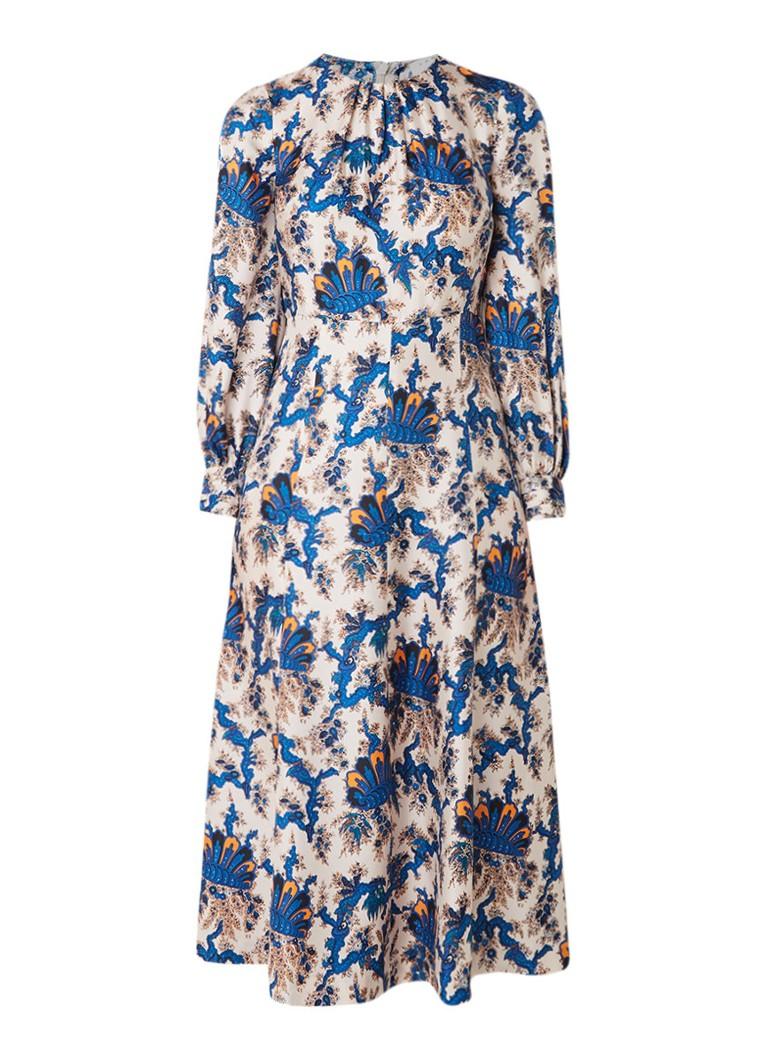 Sandro Midi-jurk van zijde met bloemendessin petrol