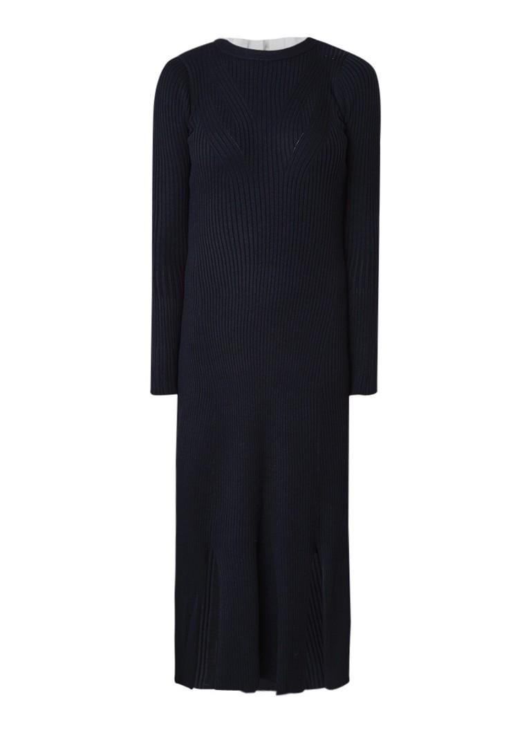Sandro Ribgebreide midi-jurk in wolblend met kraag donkerblauw