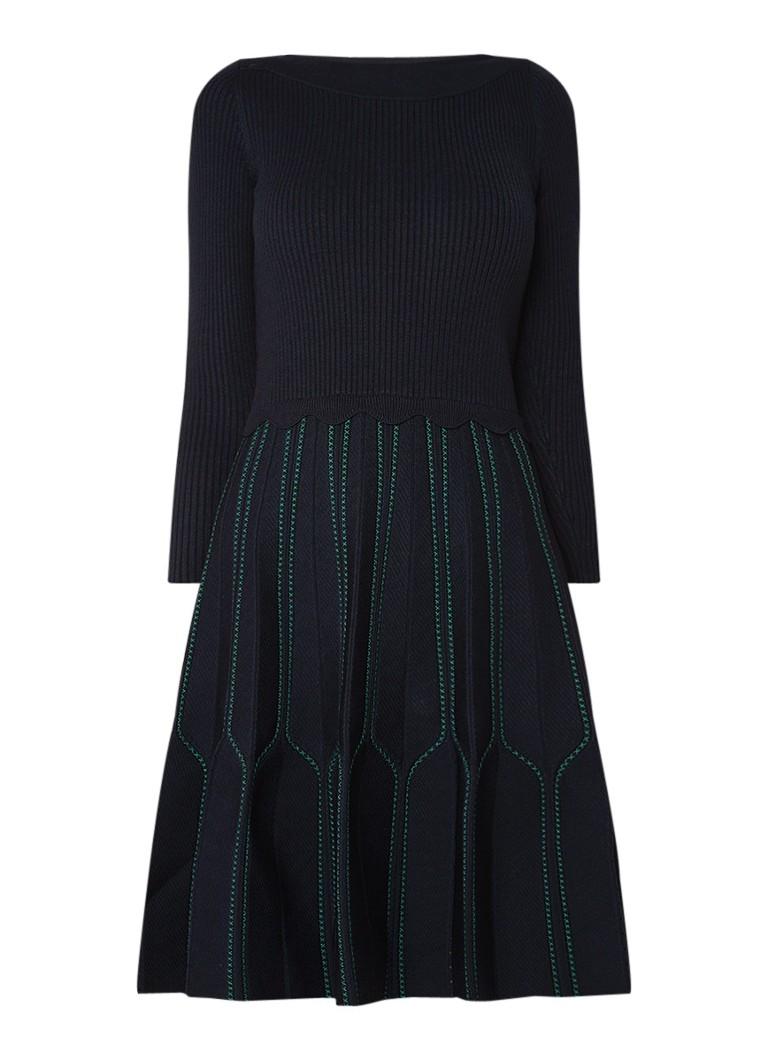 Sandro A-lijn jurk met cut-out en geborduurd dessin donkerblauw