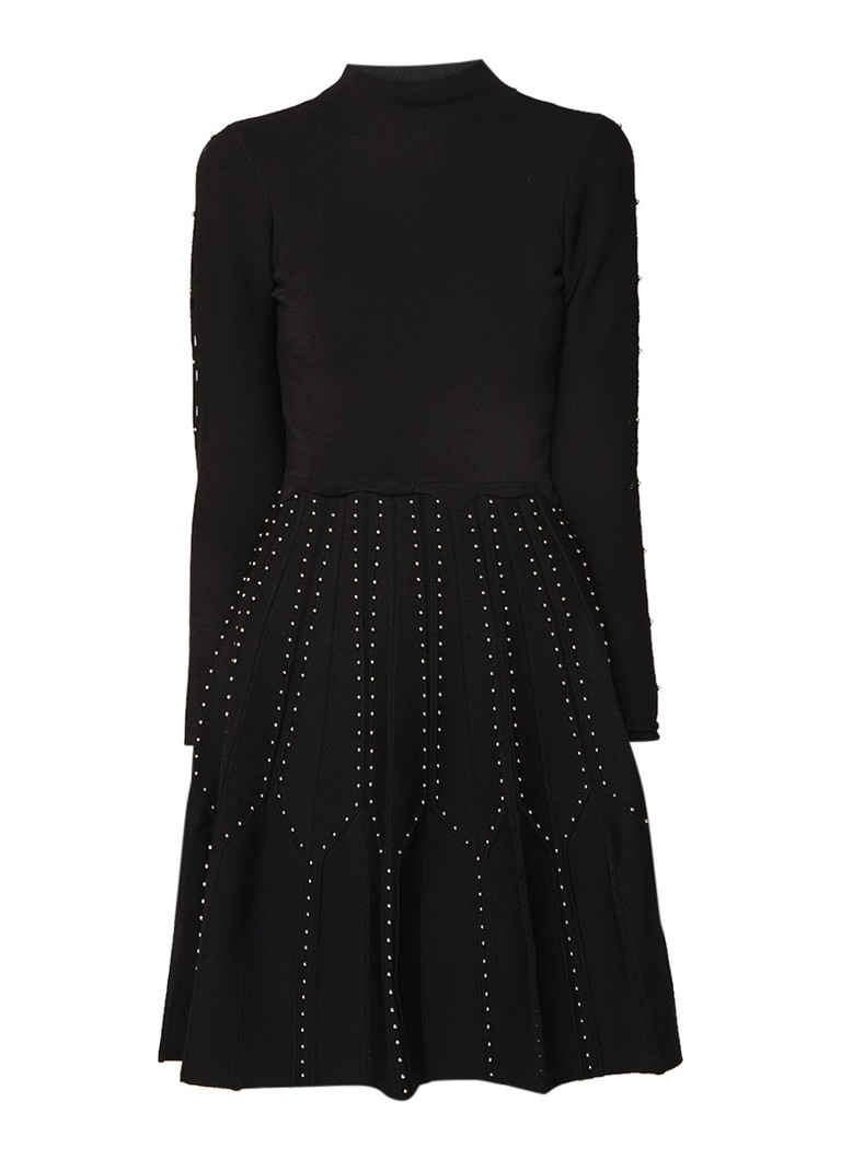 Sandro Fijngebreide A-lijn jurk met kralenapplicatie en stretch zwart