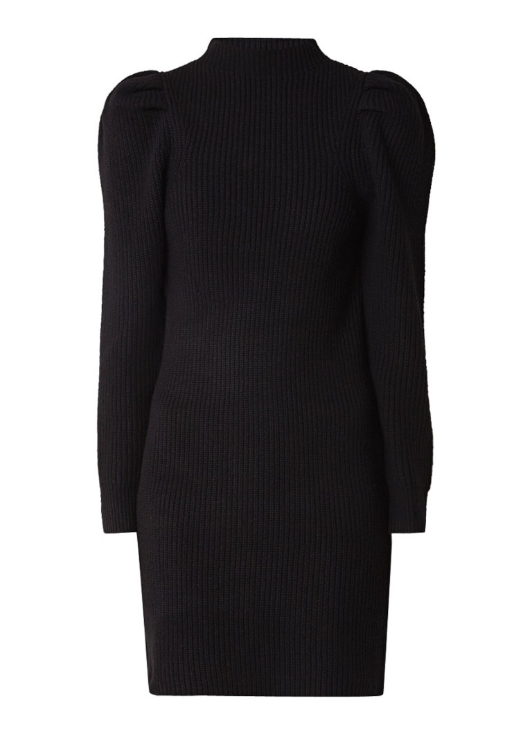 Sandro Grofgebreide mini-jurk met pofmouwen zwart
