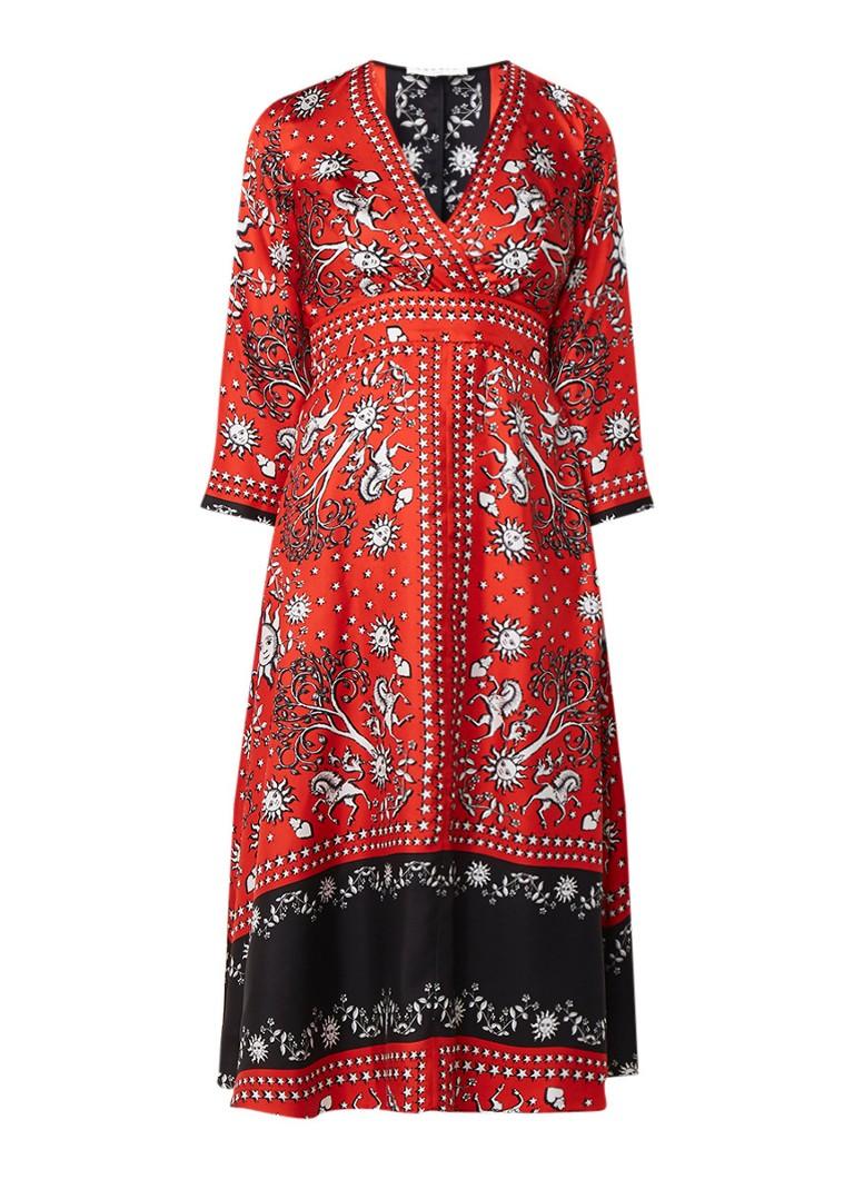 Sandro A-jurk van zijde met dessin en overslag rood