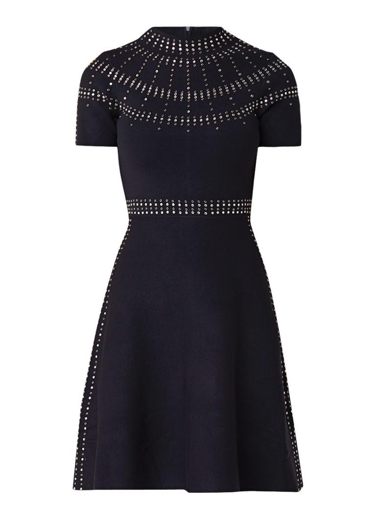 Sandro FIjngebreide A-lijn jurk met strass-decoratie donkerblauw