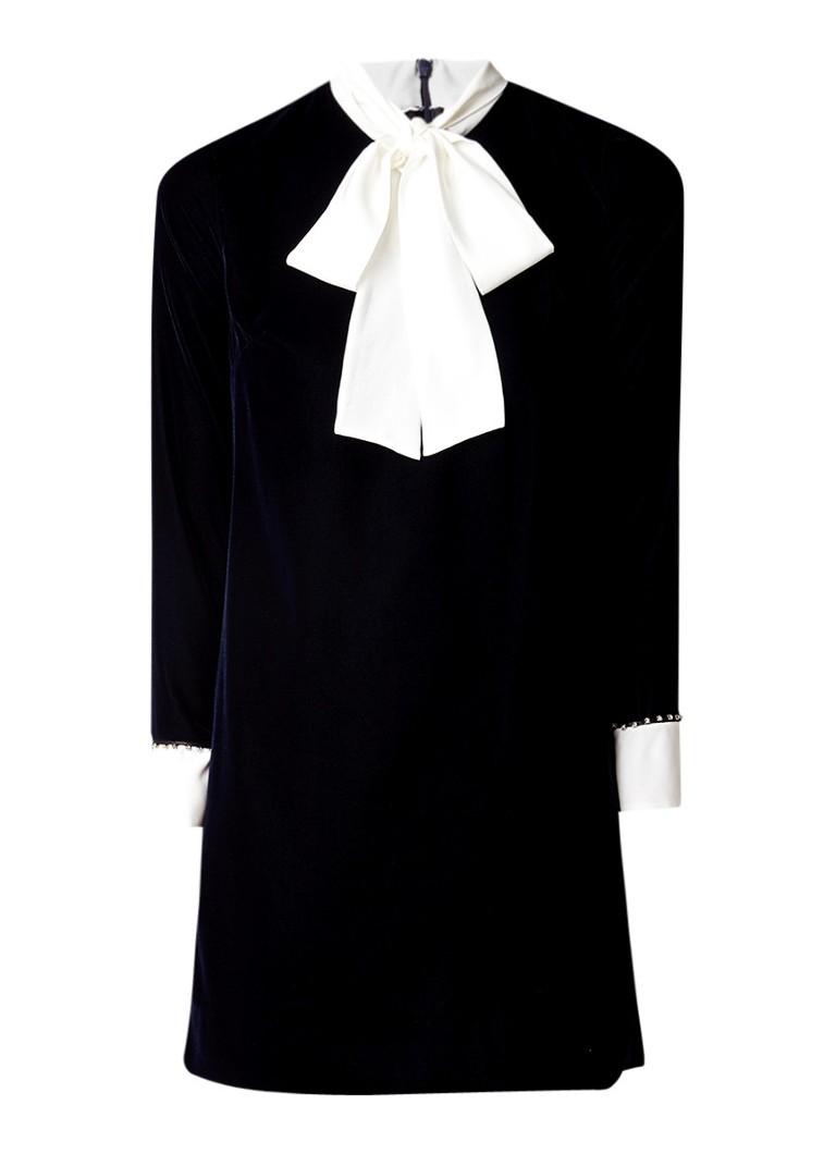 Sandro Mini-jurk van fluweel met strikdetail en strass donkerblauw