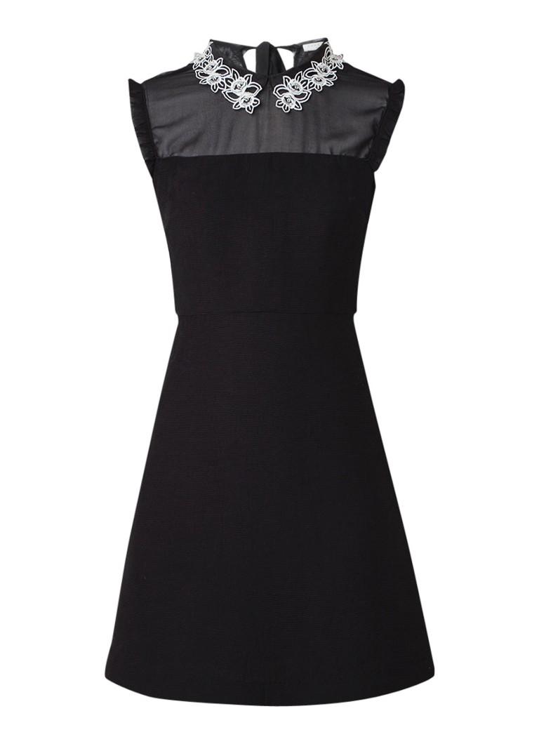 Sandro Mini-jurk met gedecoreerde kraag zwart