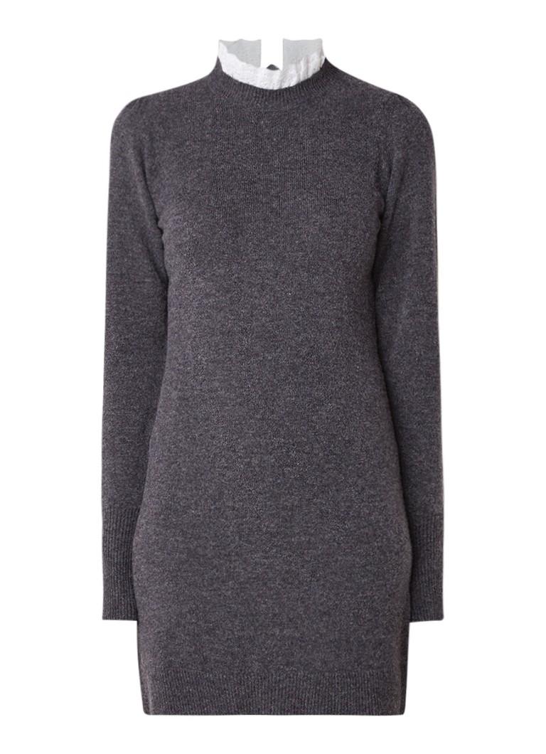 Sandro Trui-jurk in wolblend met afneembare broderie kraag grijs