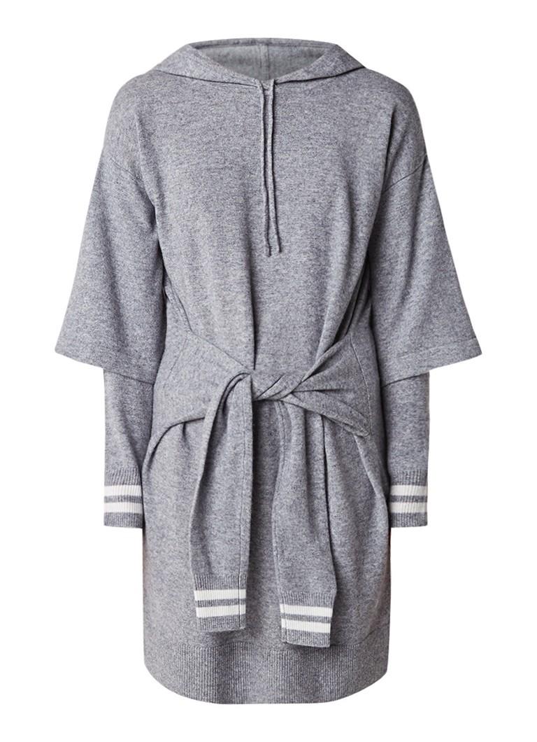 Sandro Fijngebreide midi-jurk in wolblend met capuchon grijs