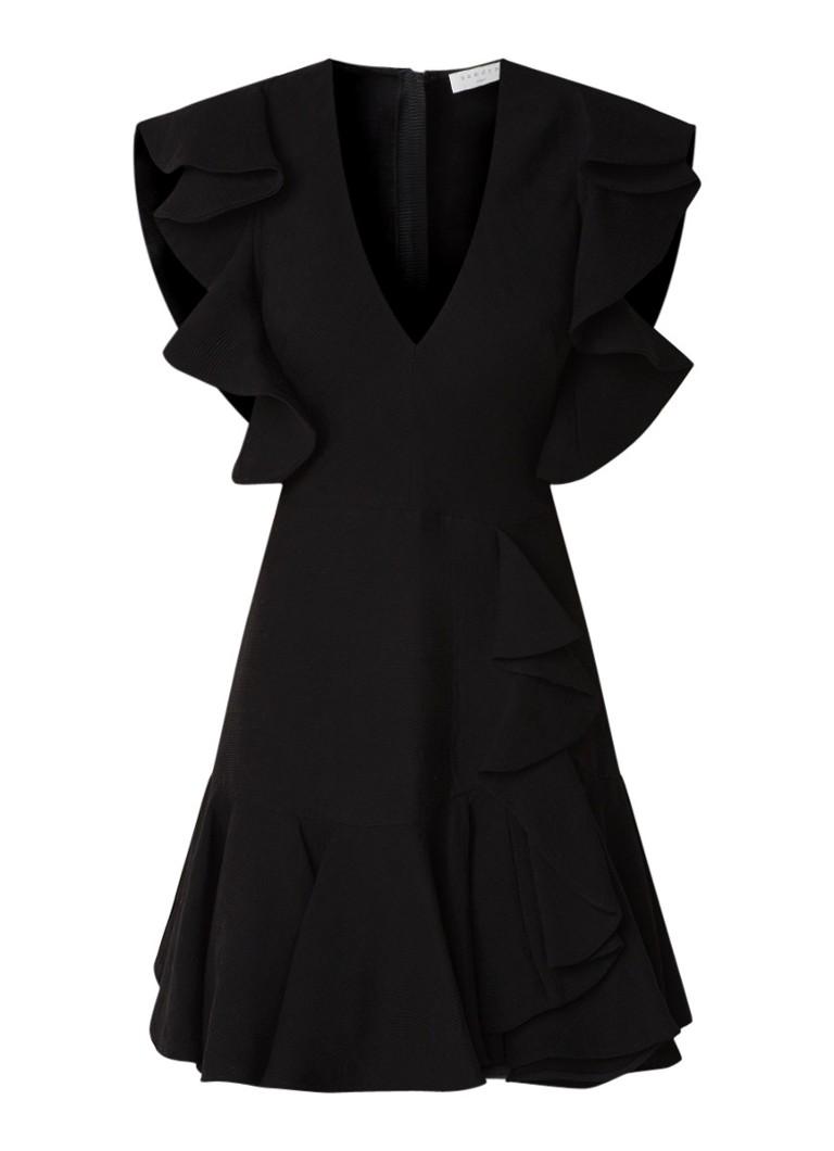 Sandro Mini A-lijn jurk met volant en V-hals zwart