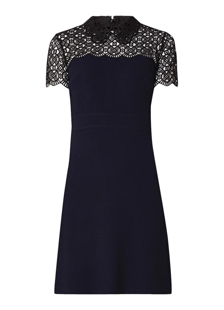 Sandro Iberia A-lijn jurk met guipure kant en kralendetail donkerblauw