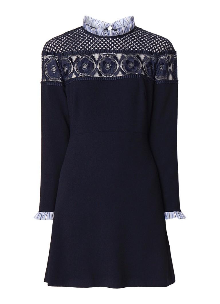Sandro Mini-jurk met kant en ruches donkerblauw