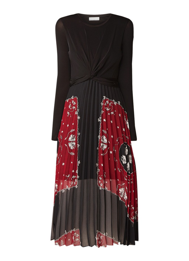 Sandro Midi-jurk met knoopdetail en plissé zwart