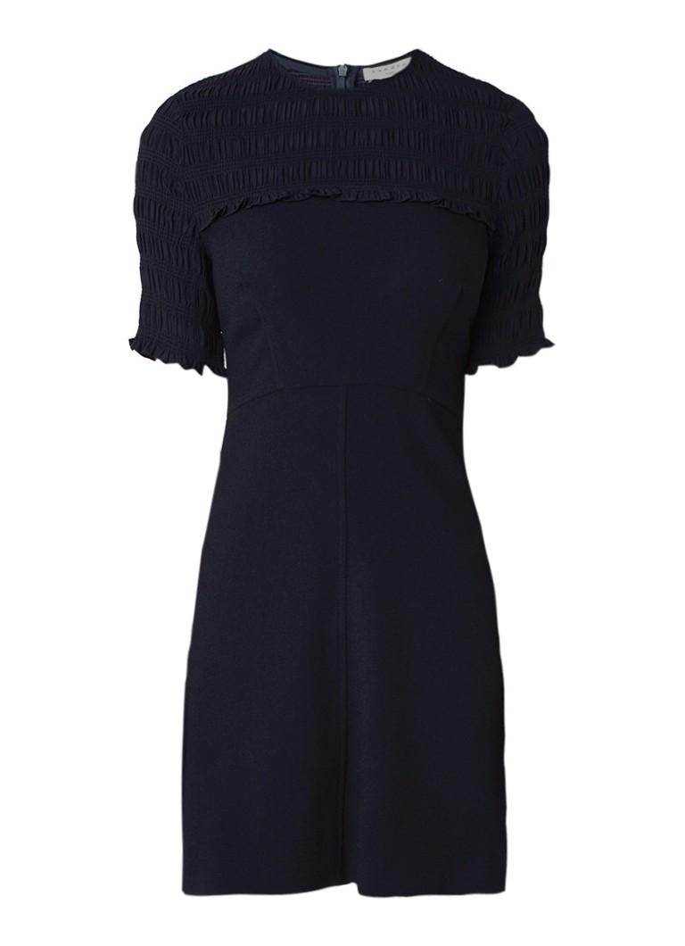 Sandro Korte A-lijn jurk met inzet van smockwerk donkerblauw