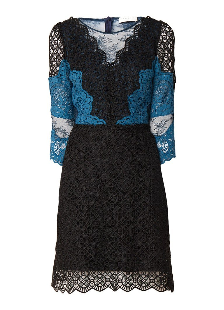 Sandro A-lijn jurk van guipure kant zwart