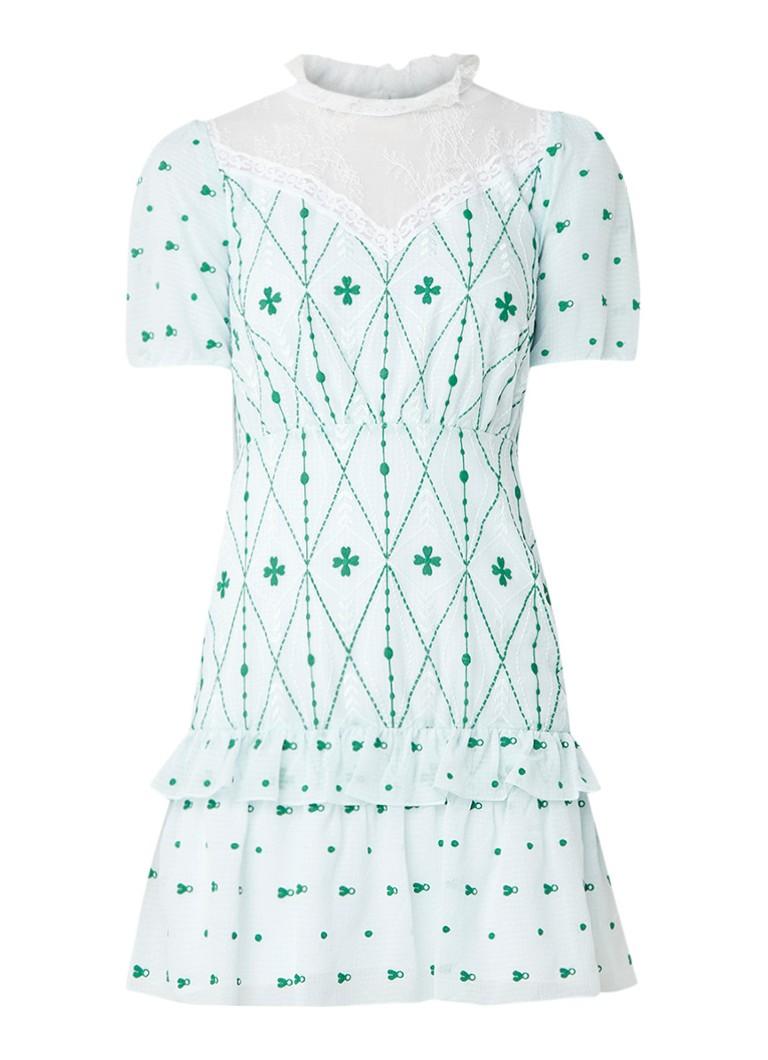 Sandro Mini-jurk met detail van kant en borduring mint