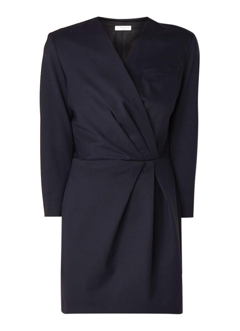Sandro Mini-jurk in wolblend met plissé detail donkerblauw