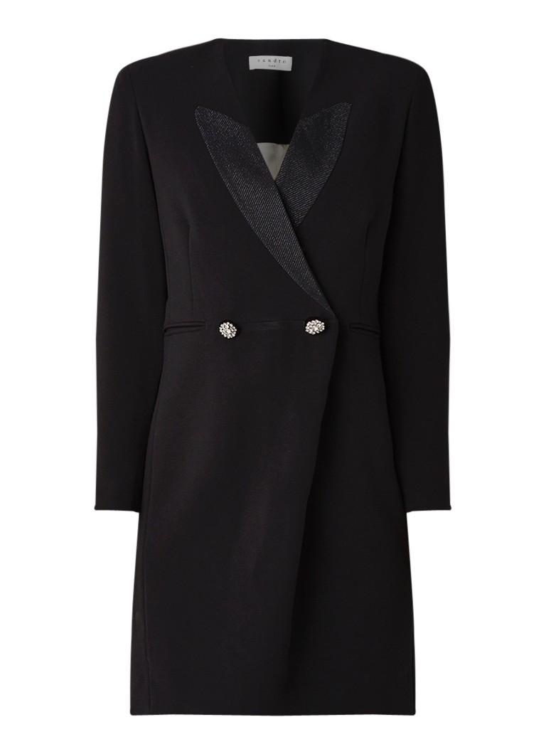 Sandro Mini-jurk in blazerlook met knoopdetails zwart