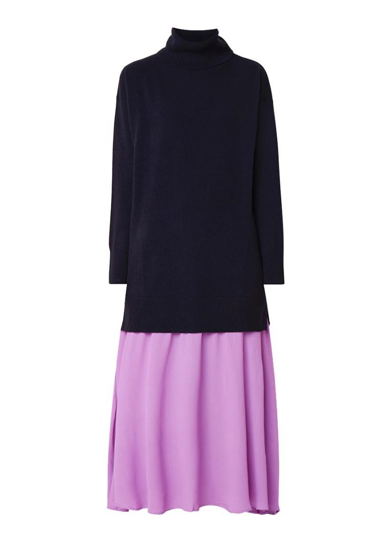 Sandro Maxi-jurk met coltrui bovenzijde en inzet van crêpe donkerblauw