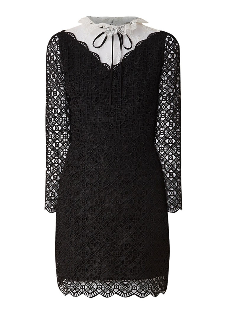 Sandro Mini-jurk van kant met contrast zwart