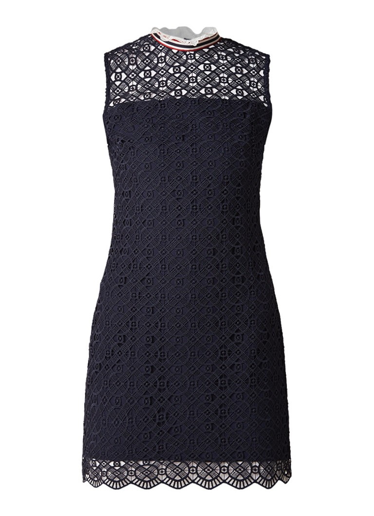 Sandro Mini-jurk van guipure kant en contrastboord donkerblauw