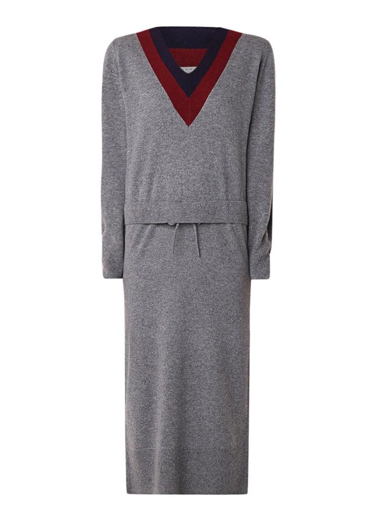 Sandro Fijngebreide midi-jurk in wolblend middengrijs