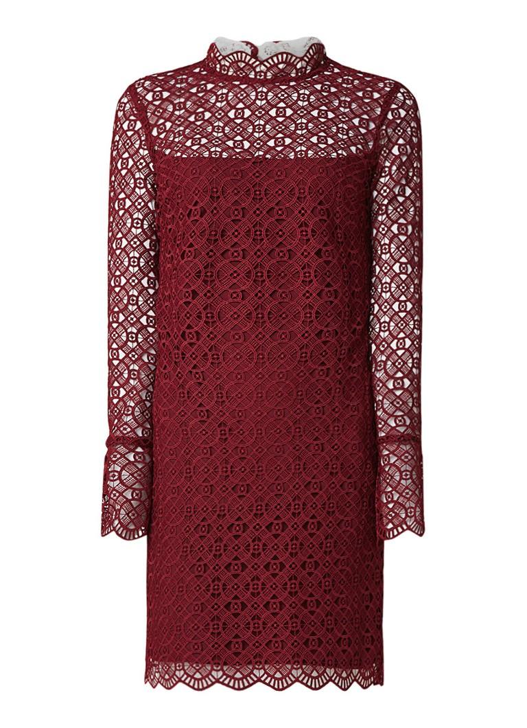 Sandro Opengewerkte mini-jurk met kraag van kant bordeauxrood
