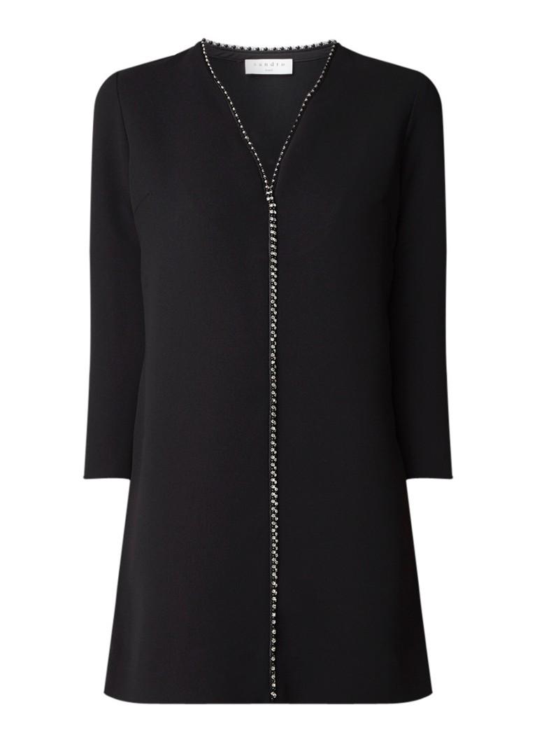 Sandro Mini-jurk met V-hals en strass zwart