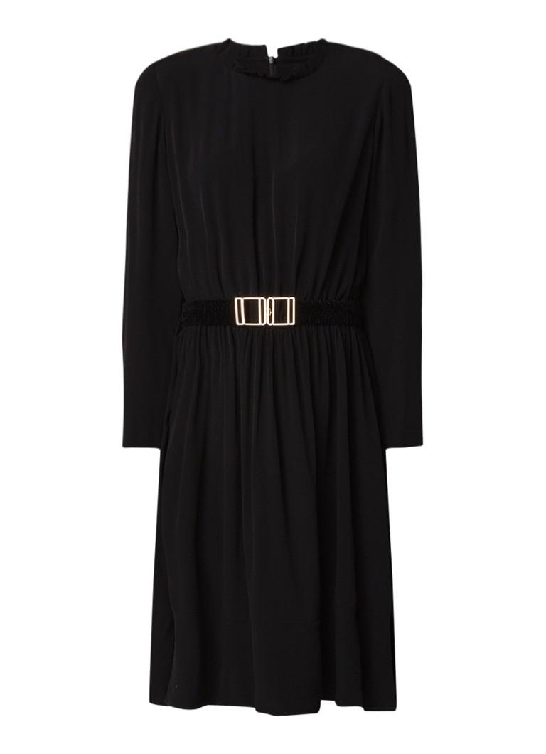 Sandro A-lijn jurk van crêpe met ceintuur van fluweel zwart