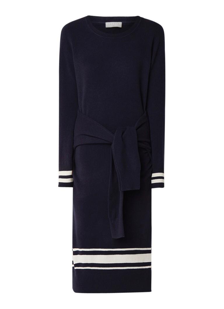 Sandro Fijngebreide jurk in kasjmier wolblend met strikceintuur donkerblauw