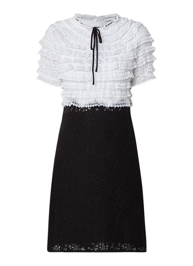 Sandro Semi-transparante A-lijn jurk van contrasterend kant zwart