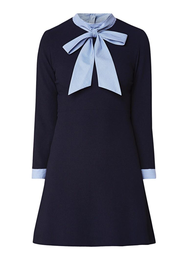 Sandro Mini blousejurk van crêpe met kraag en manchet donkerblauw