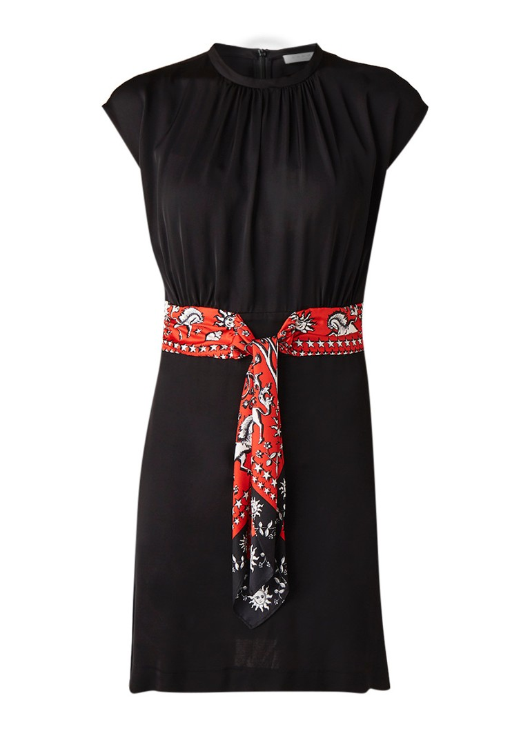Sandro Mini-jurk van chiffon met strikceintuur zwart