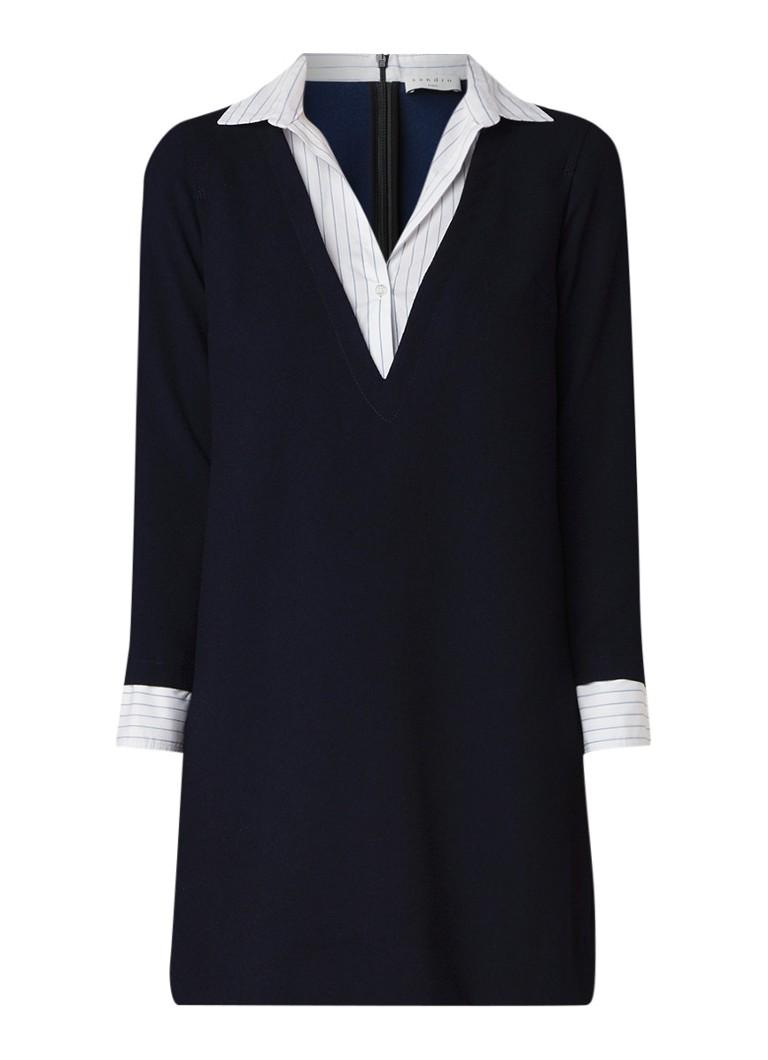 Sandro Tuniekjurk van crêpe met blouse inzet donkerblauw