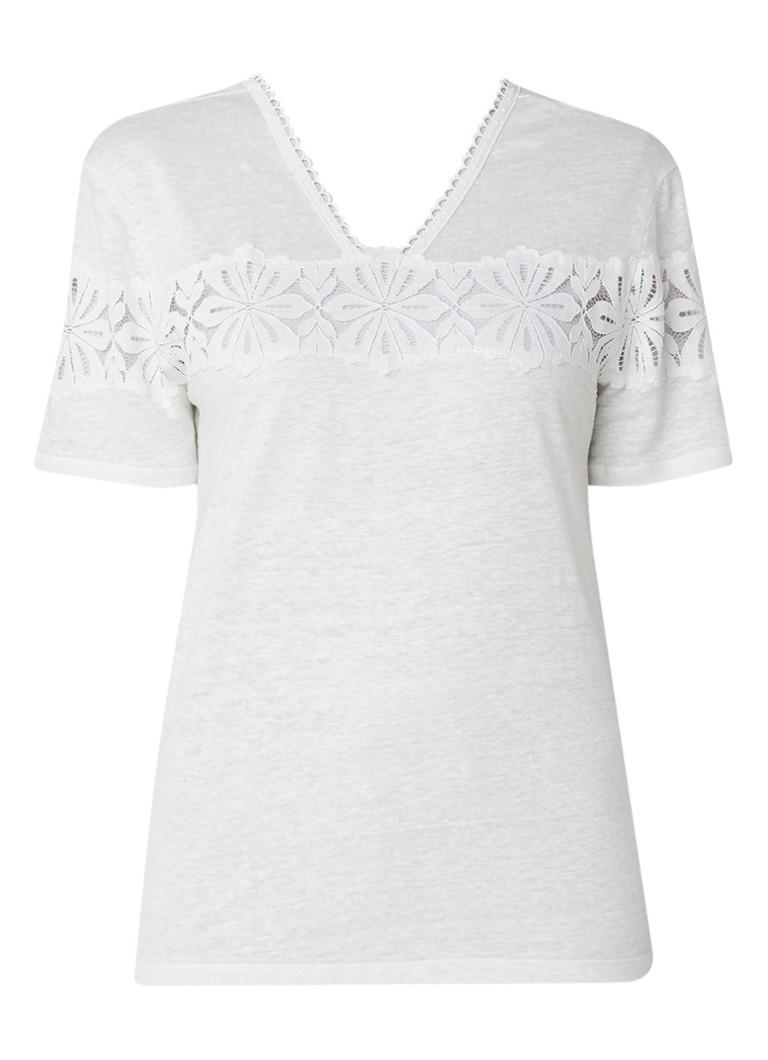 Sandro T-shirt van linnen met inzet van kant