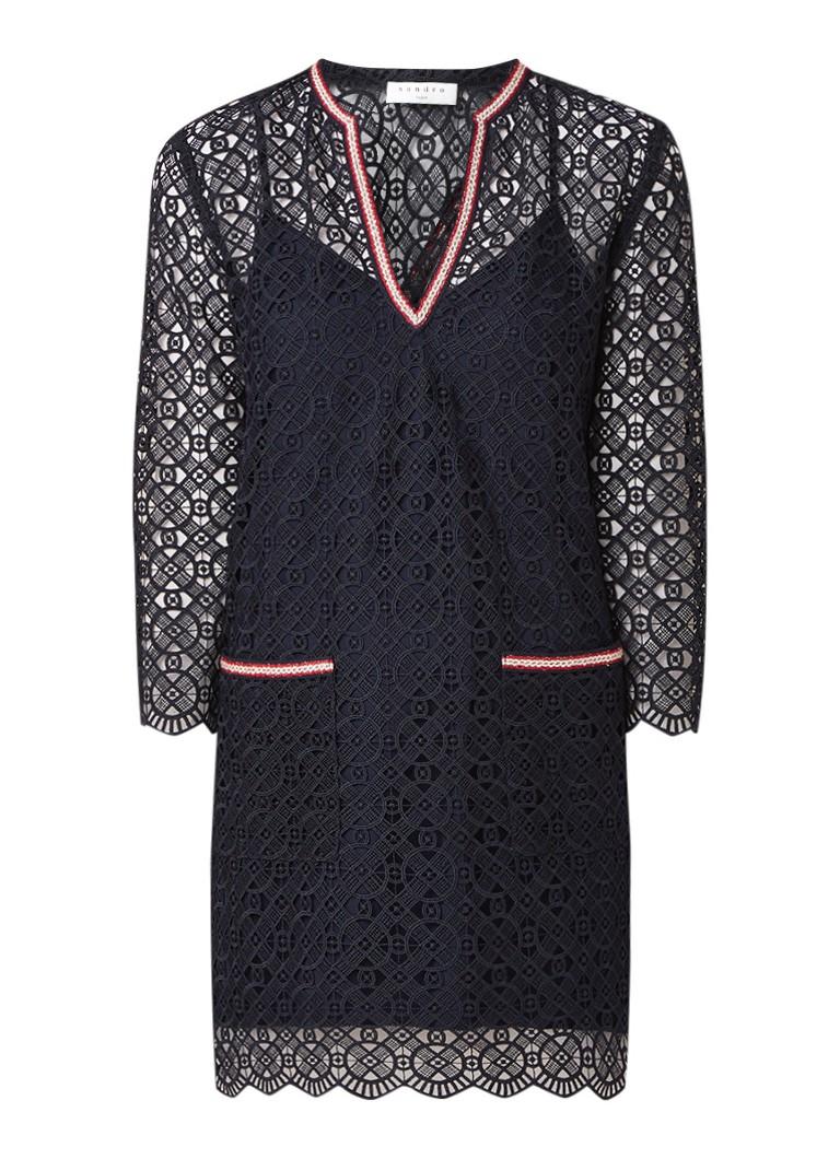 Sandro Semi-transparante mini-jurk van kant met borduring donkerblauw