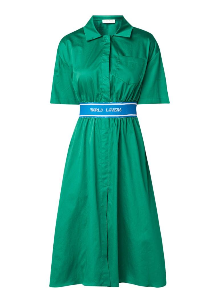Sandro A-lijn blousejurk met tailleband en tekstopdruk groen