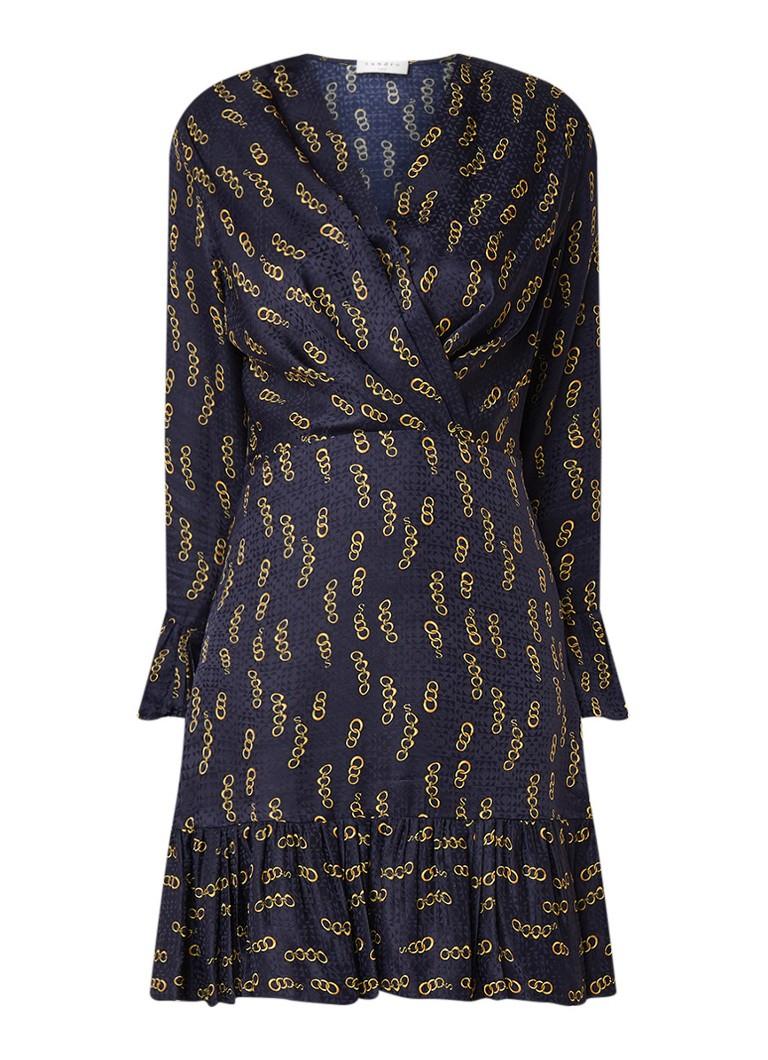 Sandro Mini-jurk in zijdeblend met dessin en volant donkerblauw