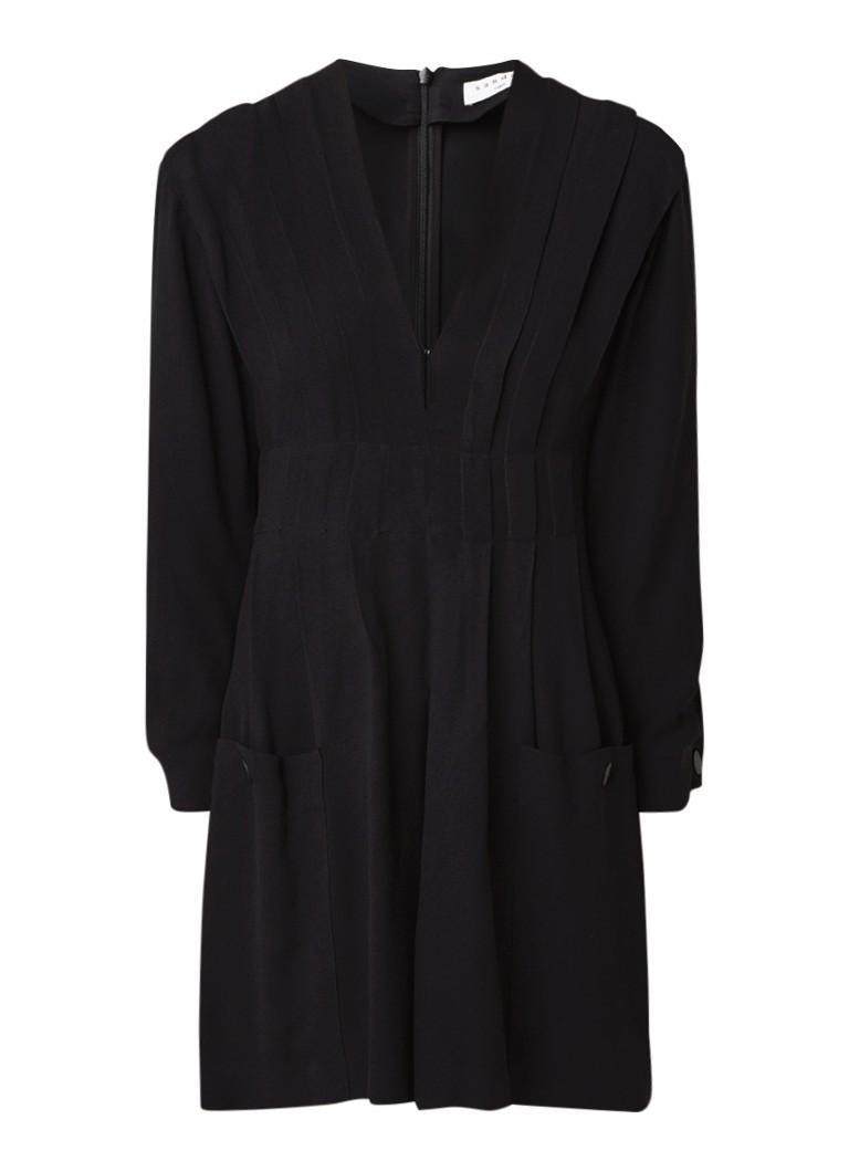 Sandro A-lijn jurk met plooidetails en steekzakken zwart