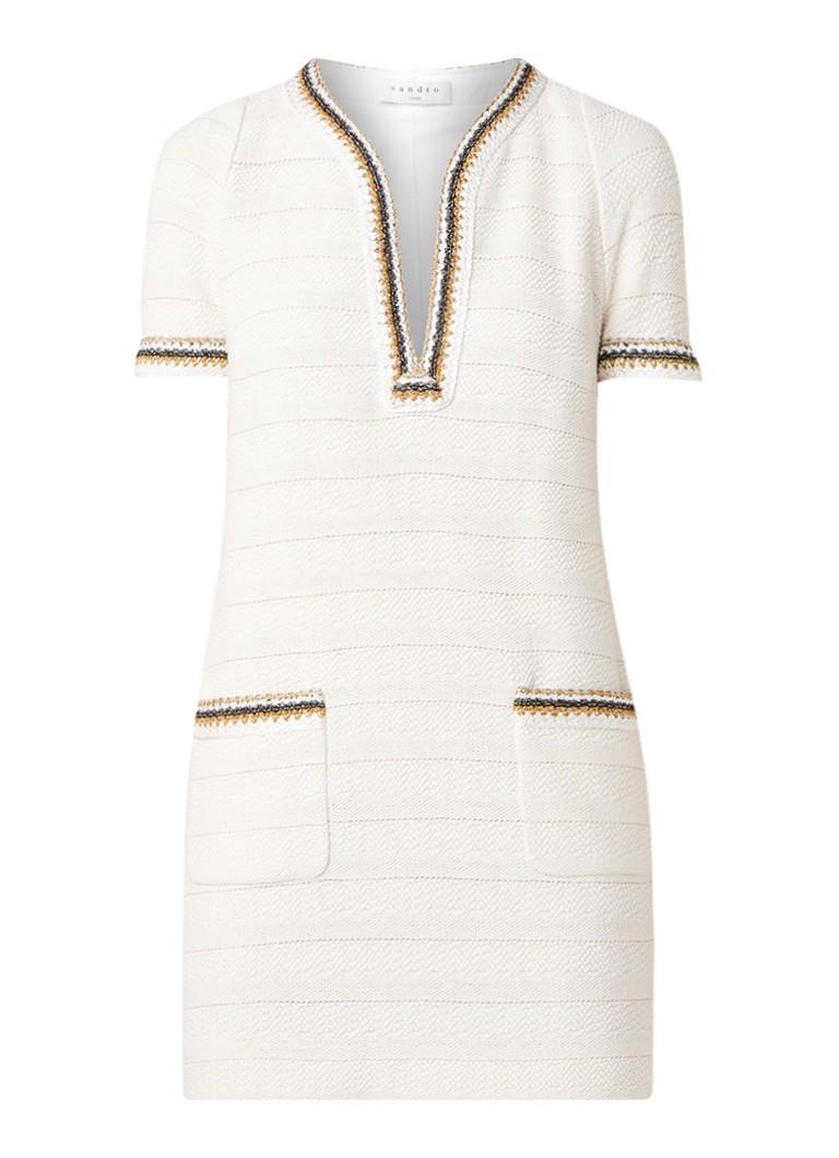 Sandro Mini-jurk van tweed met lurex boorden gebroken wit