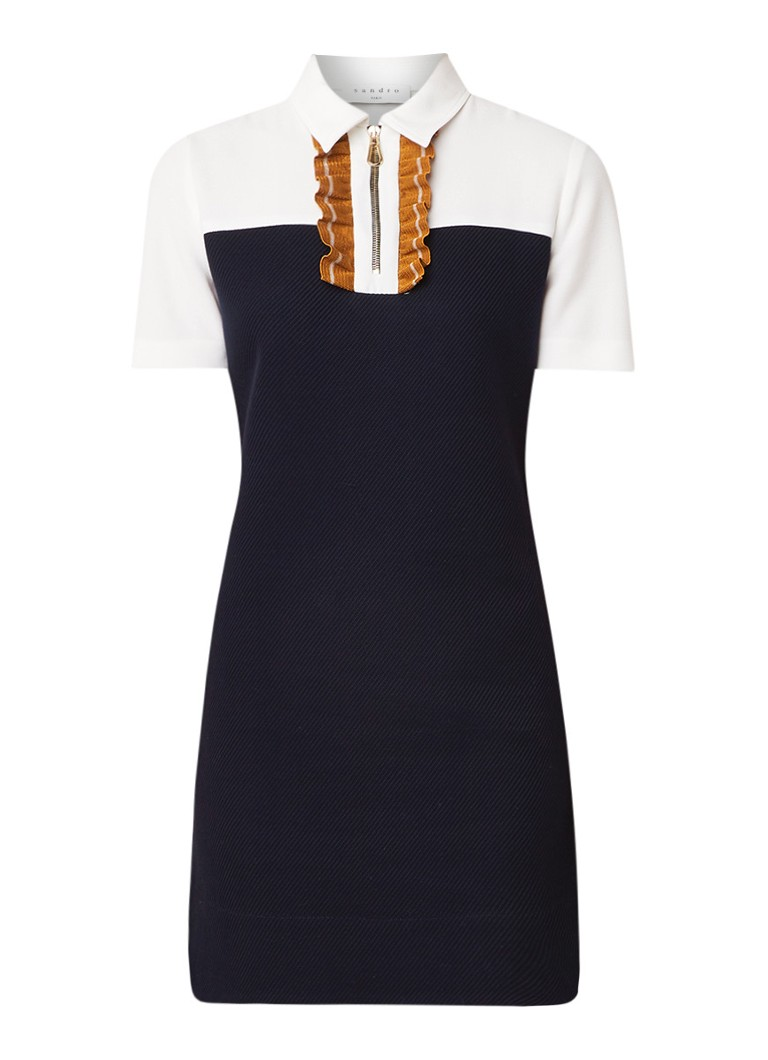 Sandro Mini-jurk met halve rits en contrasterende ruches donkerblauw