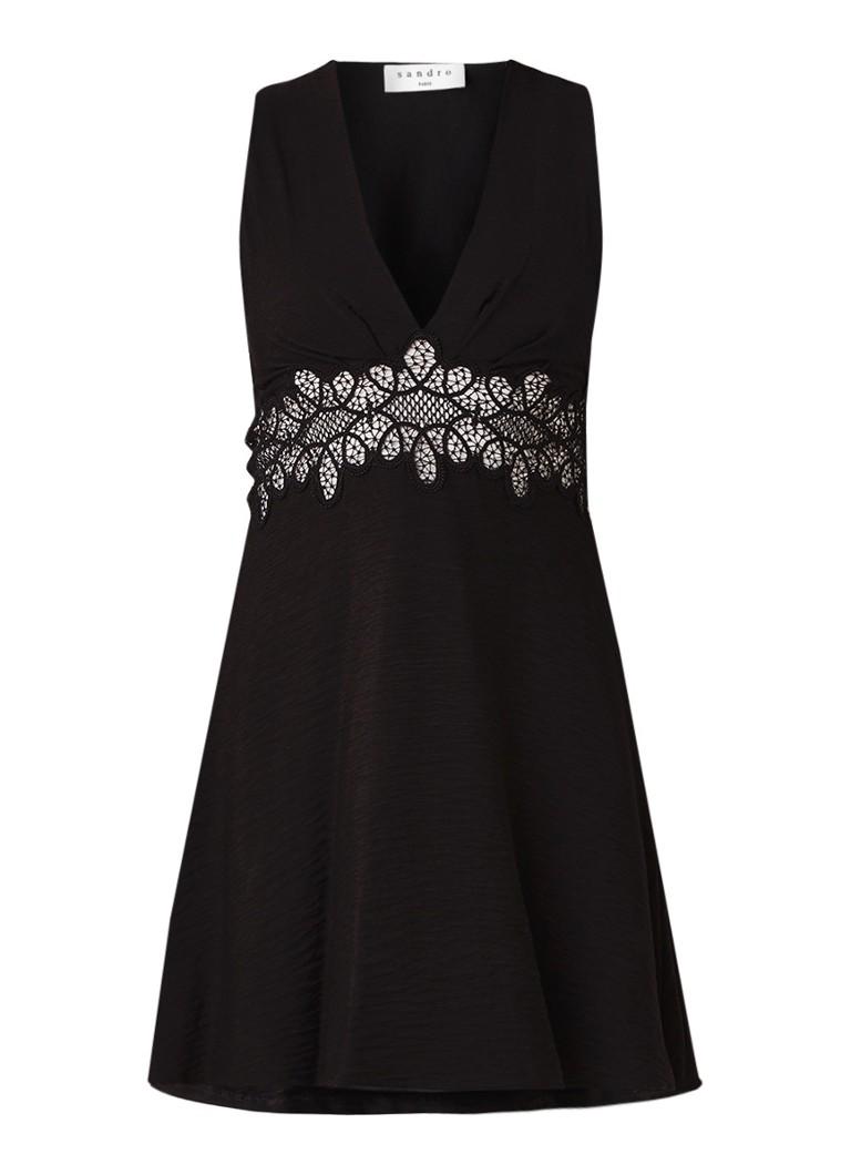 Sandro Mini-jurk met opengewerkt detail zwart